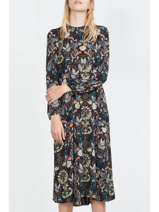 trendy Floral Round Neck Long Sleeve Dress - AS THE PICTURE S