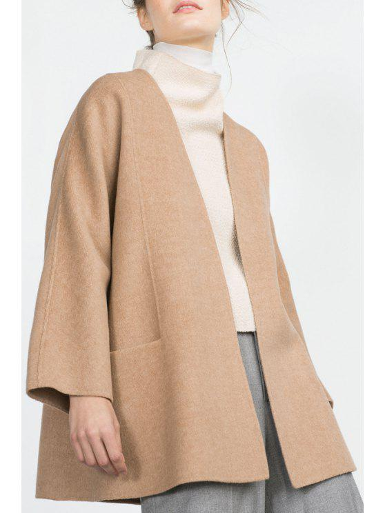 women's Pure Color Long Sleeve Worsted Coat - CAMEL S