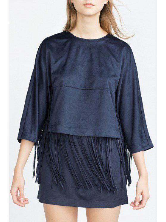 shop Solid Color 3/4 Sleeves Faux Suede T-Shirt - PURPLISH BLUE XS