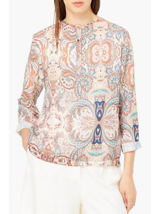 outfits Vintage Print Round Neck Long Sleeve Blouse - COLORMIX S