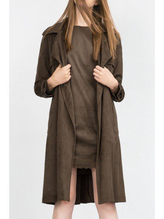 fancy Solid Color Long Sleeves Faux Suede Dress - COFFEE M