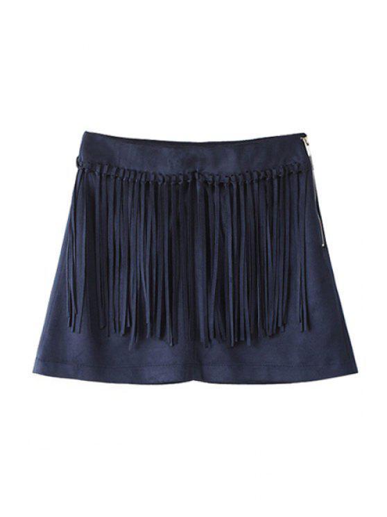 fancy Solid Color Faux Suede Women's Shorts - DEEP BLUE XS