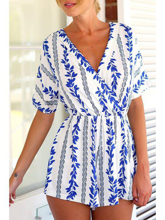 outfits Leaf Print Plunging Neck Short Sleeve Romper - WHITE S