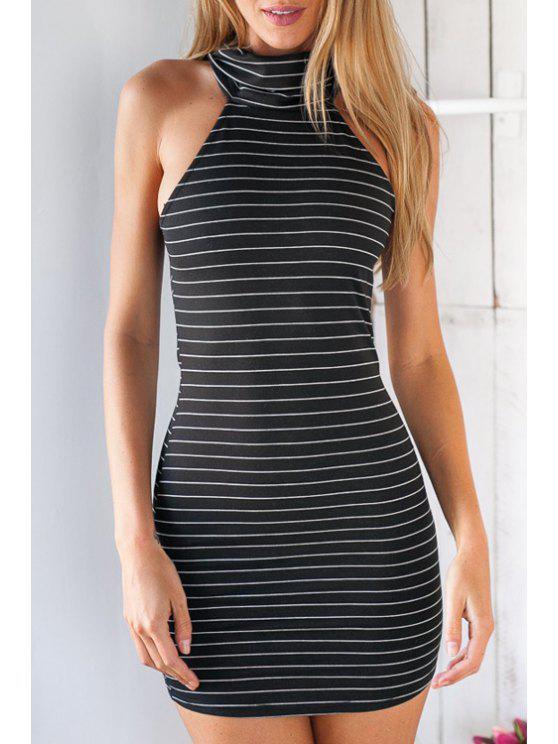 affordable Striped Turtle Neck Sleeveless Bodycon Dress - BLACK XL