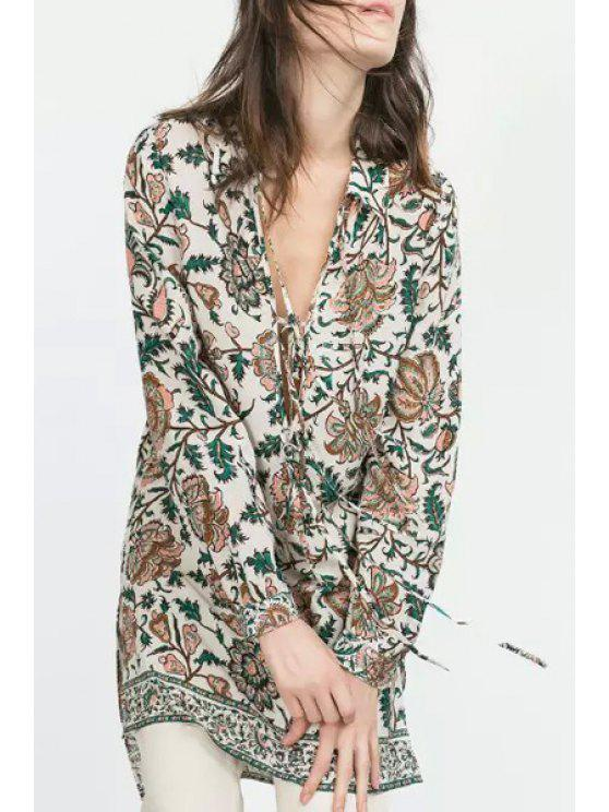 buy Floral Print Turn-Down Collar Long Sleeves Lace-Up Dress - COLORMIX S