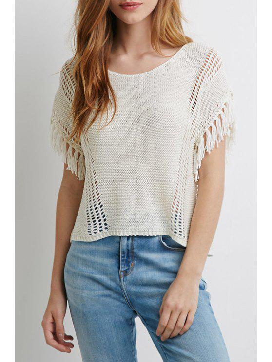 ladies Short Sleeve Solid Color Knitwear - WHITE ONE SIZE(FIT SIZE XS TO M)