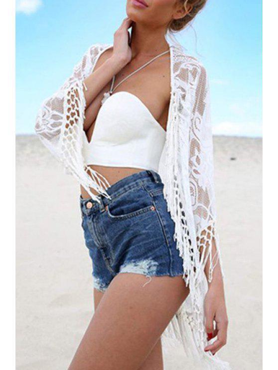 buy Fringe Splicing Lace 3/4 Sleeve Blouse - WHITE S