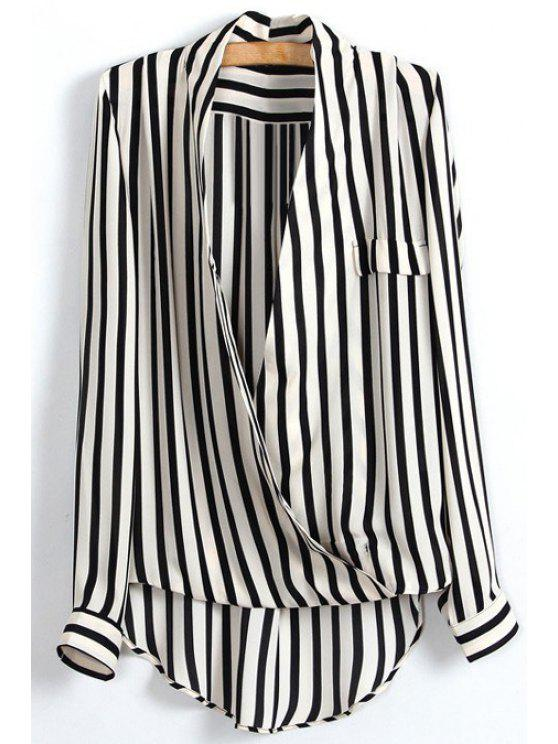 buy High Low Striped Wrap Blouse - WHITE AND BLACK M