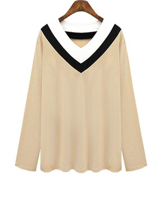 T-shirt da listra do bloco da cor do pescoço de V - Caqui XL