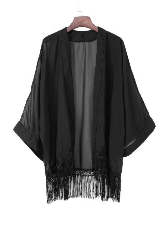 Kimono à manches longues en mousseline de soie - Noir S