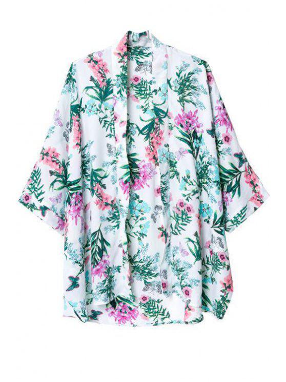 Flower Print Collarless 3/4 Sleeves Kimono - Multicolore M