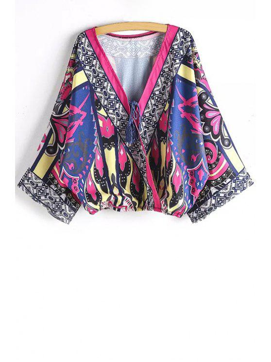 affordable Ethnic Print Plunging Neck Long Sleeve Blouse - BLUE S