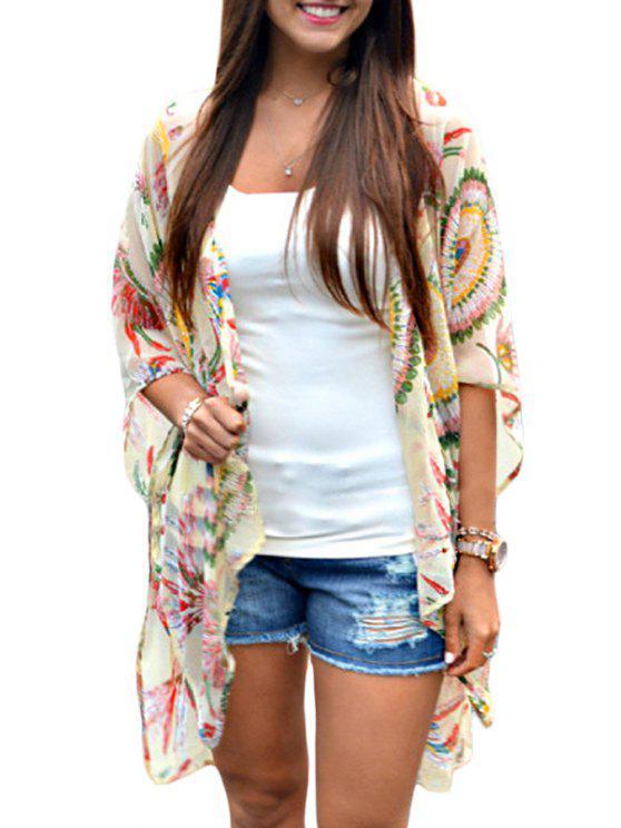 lady Print Chiffon Half Sleeve Kimono - COLORMIX S