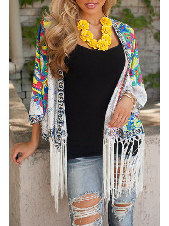 buy Ethnic Print 3/4 Sleeves Kimono - WHITE S
