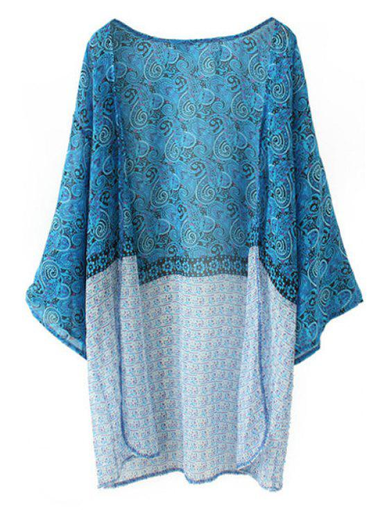 new Paisley Print Long Sleeves Kimono - LAKE BLUE XL