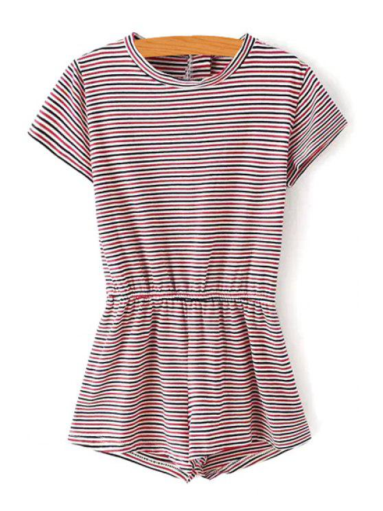 outfits Striped Short Sleeves Round Neck Slimming Romper - RED S