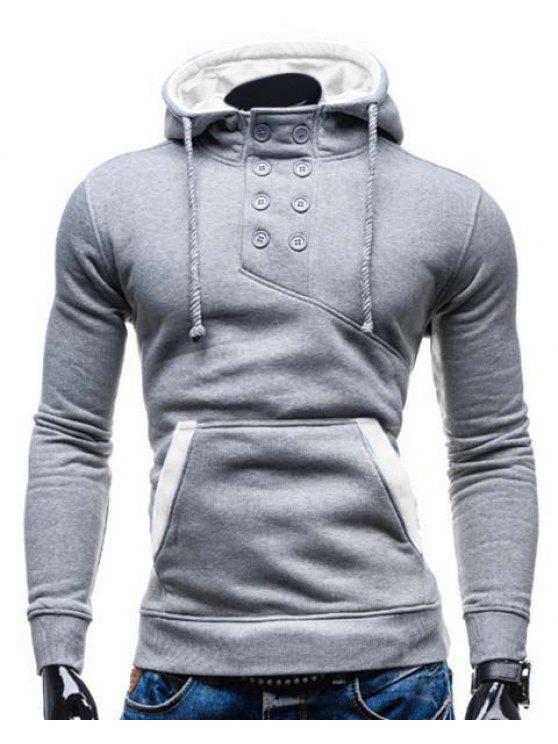 De moda con capucha doble de pecho de bolsillo Hemming adelgaza de manga larga de algodón con capucha Blend para los hombres - Colormix 2XL