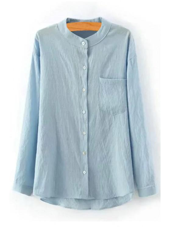online Pure Color Stand Neck Long Sleeve Shirt - LIGHT BLUE S