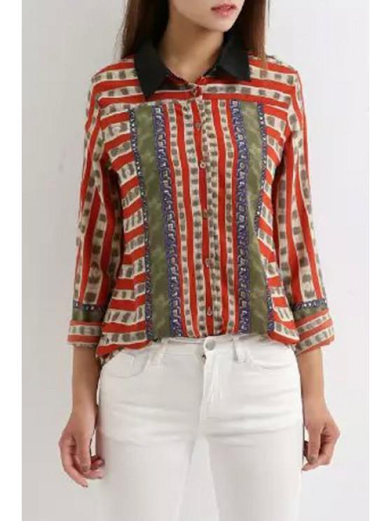 fashion Chain Print Turn Down Collar Long Sleeve Shirt - RED L