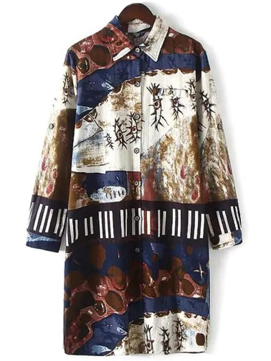 women Floral Print Long Sleeves Flat Collar Loose-Fitting Blouse - COFFEE XL