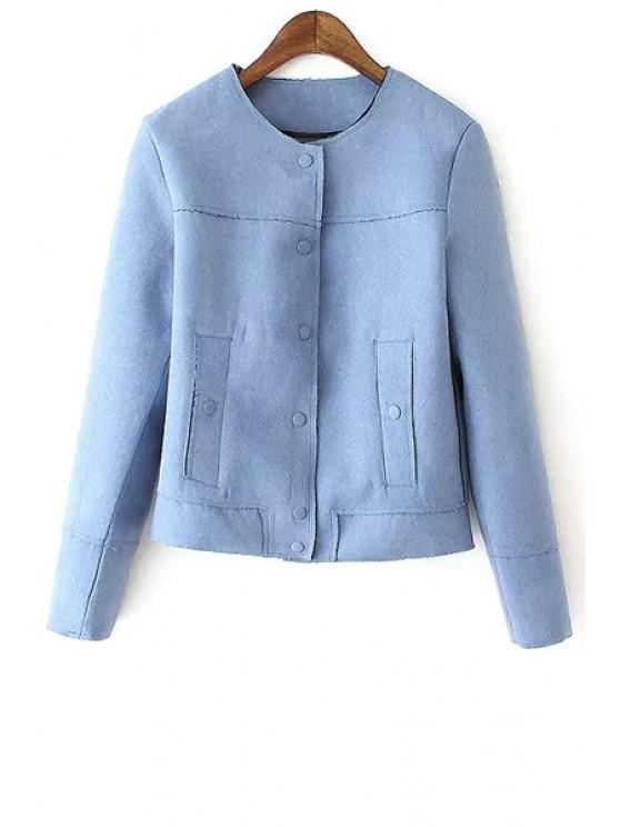latest Faux Leather Round Neck Long Sleeve Jacket - BLUE L