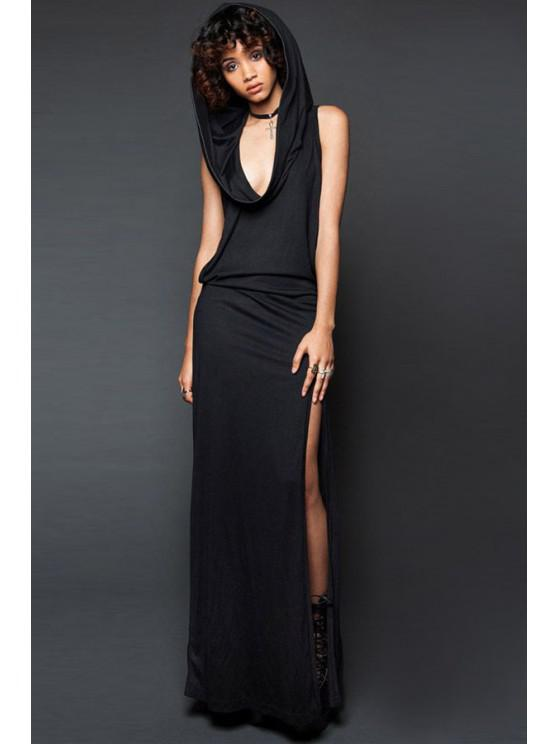 latest Hooded Cut Out Maxi Dress - BLACK S