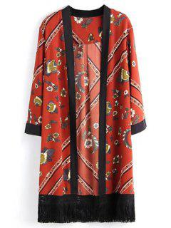 Floral Print Collarless Long Sleeves Kimono - Red L
