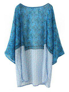 Paisley Print Long Sleeves Kimono - Lake Blue Xl