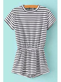 Striped Short Sleeves Round Neck Slimming Romper - Black M