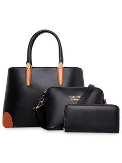 Elegant Metallic And Zipper Design Women's Tote Bag - Black