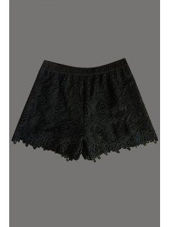 Solid Color Lace Shorts - Black