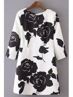 3/4 Sleeve Black Rose Dress - White S