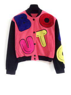 Colorful Letter Pattern Long Sleeve Jacket - Red