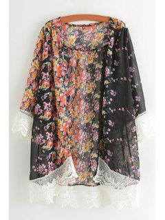 Tiny Floral Print Lace Spliced Blouse - Black Xl
