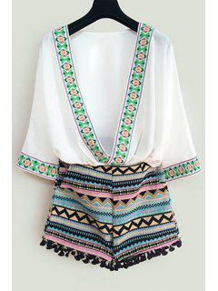 Argyle Embroidery 3/4 Sleeve Blouse + Shorts - White M