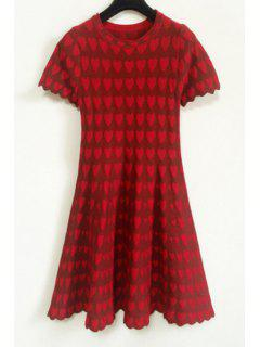 Heart Pattern Short Sleeve Dress - Red
