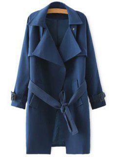 Solid Color Self-Tie Belt Trench Coat - Deep Blue S