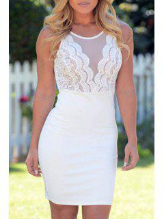 Scoop Neck See-Through Lace Splicing Dress - White