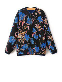 Floral Print Zipperd Baseball Jacket - Black L