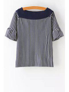 Slash Neck Ruffle Sleeve Striped Sweater - Cadetblue