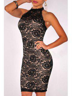 Round Neck Floral Pattern Backless Dress - Black M