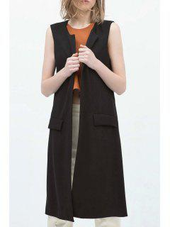 Open Front Side Slit Black Waistcoat - Black M