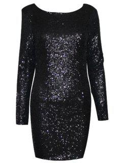 Sequins Scoop Collar Long Sleeve Dress - Black Xs