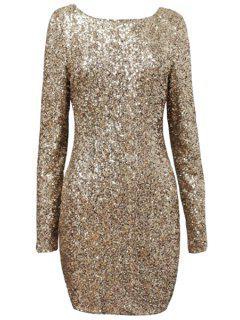 Sequins Scoop Collar Long Sleeve Dress - Golden S