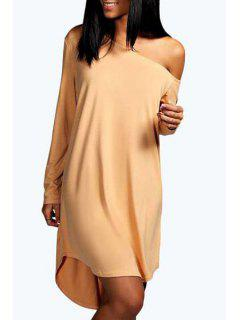One-Shoulder Long Sleeve Dress - Apricot Xl