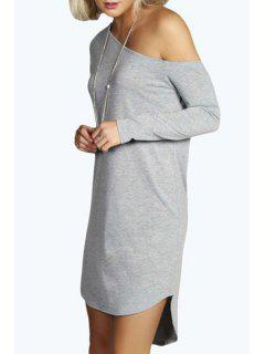 One-Shoulder Long Sleeve Dress - Gray Xl