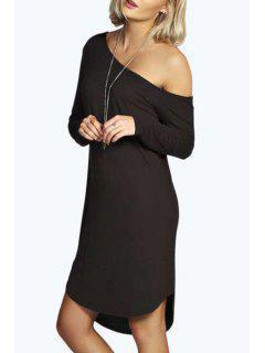 One-Shoulder Long Sleeve Dress - Black L