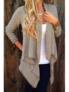 Asymmetrical Tiny Plaid Long Sleeve Cardigan - Khaki Xl