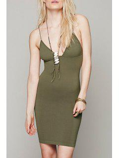 Solid Color Bodycon Cami Dress - Army Green S