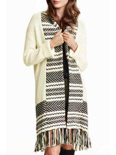 Stripe Spliced Long Sleeve Cardigan - White And Black